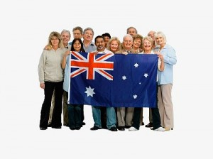 Group of people holding an Australian flag